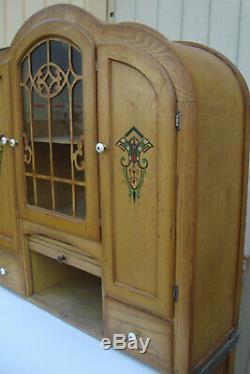 00001 Art Deco Oak Hoosier Cabinet Kitchen Work Cabinet