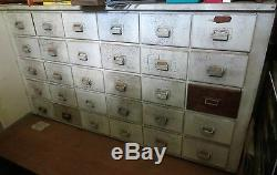 1800's Apothecary Drug Store 30 Drawer Wooden Cabinet Cupboard Slatebelt Pa