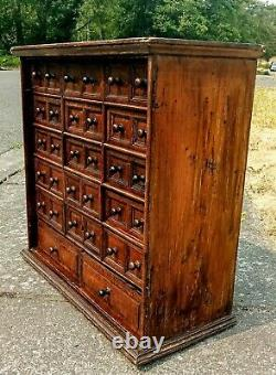 1800s Antique Solid Oak Multi Drawer Apothecary Hardware Store Parts Cabinet