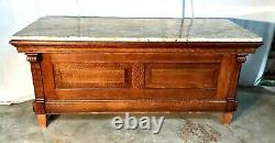 1890's Quartersawn Oak 6' Bar, General / Country Store Counter With Granite Top