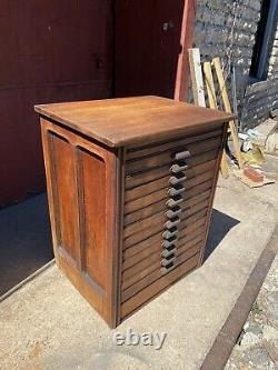 1890s Hamilton Printing Apothecary Cabinet Oak Map Cabinet industrial Farmhouse