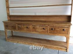 18th-19th Century 3 Pc. English Pine Welsh Dresser With Pot Board And Plate Rack