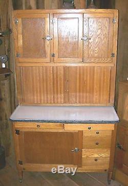1900u0027s Hoosier / Sellers Porcelain Top Oak Kitchen Cabinet Cupboard With  Acces