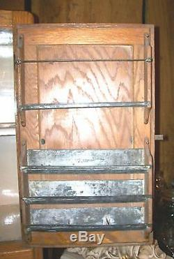 1900's HOOSIER / SELLERS PORCELAIN TOP OAK KITCHEN CABINET CUPBOARD with acces
