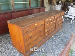 1900's Lg Oak 46 Drawer 7 Ft 94 Hardware General Store Counter Cabinet