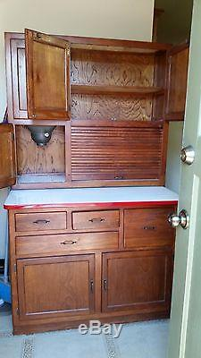 1915 Antique Hoosier Kitchen Cabinet With Flour Sifter