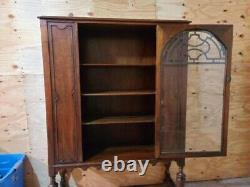 1920s French Art Deco Antique Rosewood China Display or Bar Cabinet 42x15x62