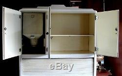 1920s Mutschler Bros Porc-Enamel Hoosier Style Tambour Kitchen Cabinet