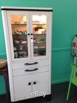 1930's Vintage White Enamel and Glass Medical Cabinet
