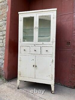 1930s Antique Metal Medical Cabinet White Kitchen Bathroom Industrial Dental