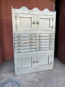 1930s Depression Era Gunsmith Cabinet Printer Apothecary Industrial Primitive