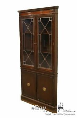 1940's Antique Duncan Phyfe Corner China Cabinet w. Leaded Glass Panes