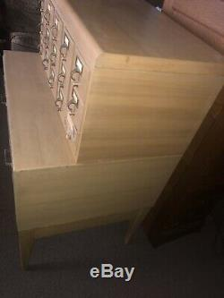 1960s Mid Century Blonde 17 Drawer Library Card Catalog Cabinet With Stand
