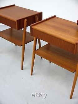 1970s VINTAGE ORIGINAL PAIR OF DANISH TEAK BEDSIDE TABLES AB CARLSTROM DENMARK