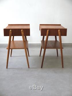 1970s VINTAGE PAIR MID-CENTURY BEDSIDE TABLE DRAWERS AB CARLSTROM TEAK DENMARK