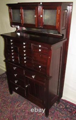 19th C 20 Drawer Mahogany Antique Dental Cabinet By The American Cabinet Co