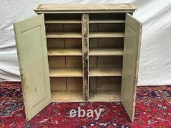 19th C Antique Primitive Pine Wall Cabinet In Nice Old Green Paint Finish