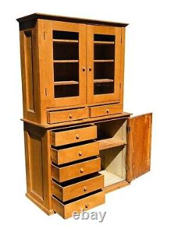 19th C Country Primitive Antique Shaker Maple Cabinet / Step Back Cupboard Hutch