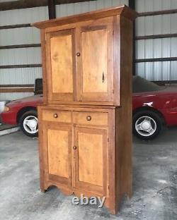 19th Century Primitive Antique Step-Back Cupboard