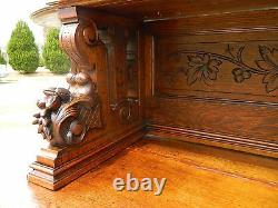 19th Oak Sideboard Buffet with China Bookcase TopCarved Birds and Nuts