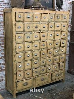 19th c Antique 52 Drawer Pine Apothecary Cabinet