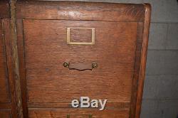 2 VINTAGE 4 Drawer File Cabinet Library Bureau Makers OAK