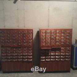 2 Vintage maple library card catalogue, 60 draws /