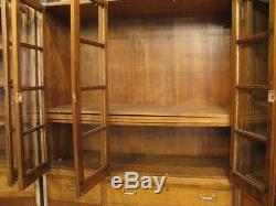 3 Antique Vintage 1937 Solid Maple China Cabinet Book Shelf School Cabinet Hutch