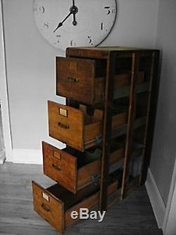4 Drawer Vintage Library Bureau Sole Makers File Cabinet Card Catalog