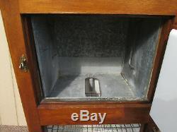 56830 Antique Oak Ice Box Refrigerator Cabinet Porcelain lined w- metal shelves