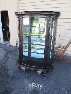 57601 Antique Oak Victorian China Cabinet Curio