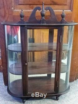 58343 FERGUSON Vintage Mahogany Bow Glass Wall Shelf Curio Cabinet withMirror