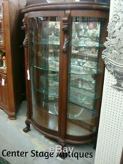 59766 Antique Oak Bow Glass Lion Headed China Cabinet Curio