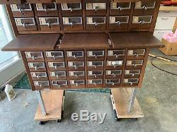 60 Drawer Antique Oak Library Index Cabinet Very Good Condition