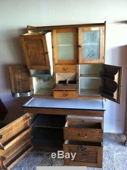 68 X 42 Antique 1920's 2 Piece Hoosier Cupboard By Dearborn Desk Mfg. Co Read