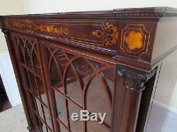 ANTIQUE BOOKCASE, CABINET, LOCKING GLASS DOORS, INLAID MAHOGANY, MOTHER OF PEARL