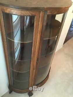 ANTIQUE CURIO CABINET Tiger Oak Curved Glass