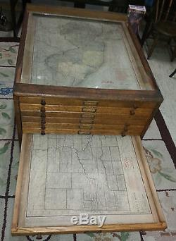 Antique Glass Top Map Cabinet Coffee Table 12 Drawers