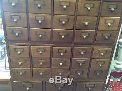 ANTIQUE GLOBE QUARTERSAWN OAK CARD FILE CABINET 4-SECTION 51 DRAWERS 1900s