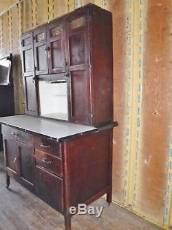 ANTIQUE HOOSIER wood KITCHEN CABINET CUPBOARD FURNITURE pantry food storage