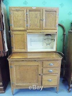 Antique Oak Hoosier Cabinet Withflour Sifter Glass Sugar Jar And Pie Shelf  Ca