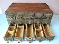 Antique Primitive 15 Drawer File Apothocary Cabinet, Half Round Bottom