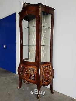 Antique Style French Louis XV Inlaid Bombe Vitrine Display Cabinet Repro Sideboa
