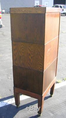 ANTIQUE Stacking 5 pc. Tiger Oak legal Size File Cabinet Barrister Orig. FINISH