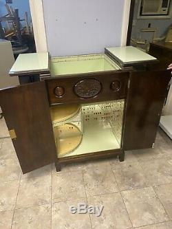 ART DECO Vintage Walnut BAR Liquor Cabinet Bakelite Lift Top Handles Mirrored