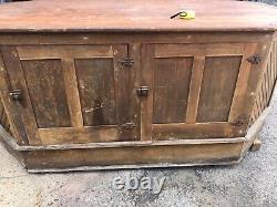 Amazing c1920 yellow pine kitchen counter island cabinet 84/52/35.5 deep storage