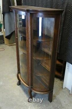 American Empire Antique Oak Curved Bowfront Glass Curio Display Cabinet Paw Feet