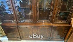 Ant. Flamed Mahogany Chippendale Pagoda Top Blind Fretwork Bookcase Breakfront