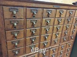 Antique 1/4-sawn oak LIBRARY BUREAU SOLE MAKER 60 drawer Card catalog cabinet