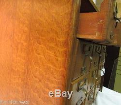Antique 12 Drawer Tiger Oak Dovetail Case Table Top Library Card Catalog